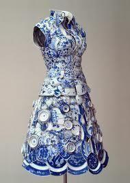 Delft blue dress.