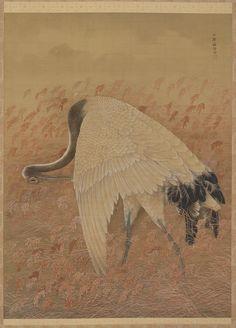 'A Crane' (late 19th century). Silk painting by Ozawa Nankoku (1844 -?).