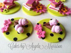 Girly cupcake toppers van CakesbyAngela op Etsy