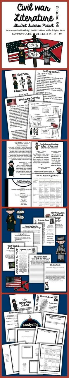 "Check out my latest product-- ""Civil War Literature Student Packet: Common Core Aligned""!  This product highlights three of the most popular literary and informational texts of the Civil War time period! $"