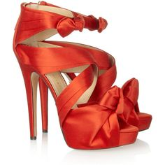 Charlotte Olympia Andrea satin sandals ($455) ❤ liked on Polyvore