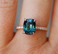 Peacock sapphire engagement ring. 3ct cushion cut diamond ring 14k Rose gold ring by Eidelprecious.