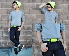 Huckstraps Neon Belt, H&M Slim Fit Jeans, Forever 21 21 Men Sweater, H&M Neon Beanie