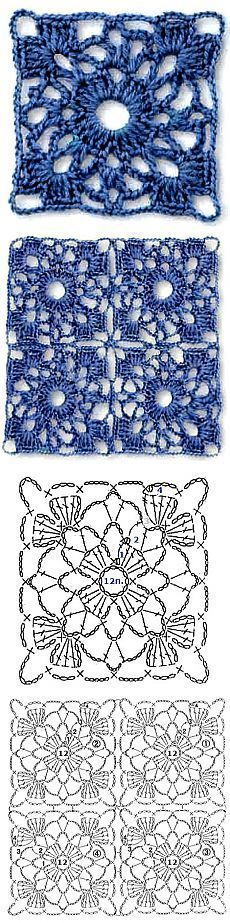 "Crochet patterns - Haak patronen [   ""Nice motive for runner, map (color), clothing and more."",   ""Lovely Crochet Square: Diagram would be a great curtain"",   ""Crochet lace square - Tried this, it"