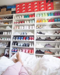 "Shoes Storage Under Bed . Shoes Storage Under Bed . Explore Momo S Board Board Board "" Shoe Storage Ideas"" On Shoe Wall, Shoe Room, Sneaker Storage, Shoe Storage, Shoe Closet Organization, Bed Storage, Storage Ideas, Room Goals, Dream Closets"