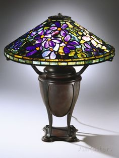 Tiffany Studios 'Wistaria' Leaded Glass and Bronze Table Lamp Photographic Print