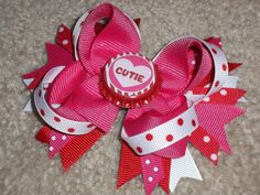 Medium Valentine's Day Bow  Perfect for the little Cutie in your life!    www.facebook.com/mandasbowtique