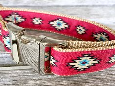 Red Aztec 1 Dog Collar Handmade Dog Collar red Dog