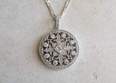 Mandala Pendant Necklace Clear Cubic Zirconia Pave Set Sterling Silver Double Sided Fleur de Lis Maltese Cross Vintage Blue Green Gem, Silver Labs, Maltese Cross, Beautiful Necklaces, Sterling Silver Necklaces, Vintage Jewelry, Mandala, Pendant Necklace, Gemstones