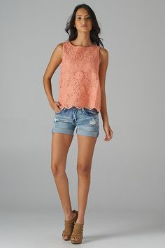 lace top and jean shorts