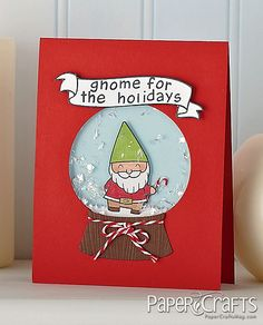 Lawn FaWWN Gnome for the Holidays Card by Bolton Snow globe christmas card Christmas Card Puns, Christmas Drawing, Christmas Goodies, Xmas Cards, Diy Cards, Holiday Cards, Holiday Puns, Christmas Door, Christmas Animals