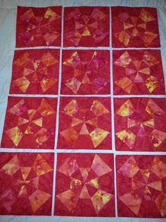 12 Kaleidoscope Finished Quilt Top Blocks- Red/Orange/Yellow Batik Blend Fabrics Pattern Blocks, Quilt Patterns, American Patchwork And Quilting, Quilt Top, Orange Yellow, Quilt Blocks, Fabrics, Quilts, Blanket