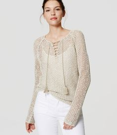 Primary Image of Lace Up Sweater