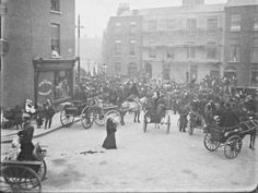 Funeral procession passing through Berkeley Street. View from Blessington Street of a crowd of mourners gathered around a horse-drawn funeral. Best Of Ireland, Images Of Ireland, Dublin Ireland, Ireland Travel, Old Pictures, Old Photos, Vintage Photos, Vintage Photographs, Dublin Street