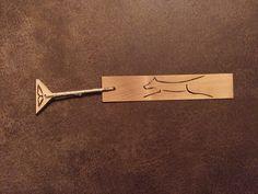 Line Dog wood burnt bookmark