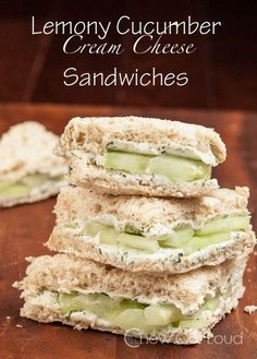 Lemony Cucumber Cream Cheese Sandwiches - The perfect shower, lunch, or brunch finger food. Yes for spring and summer!