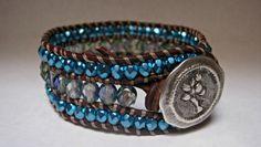 Beaded Leather Cuff Triple Row Beaded Blue by CristinaDavisJewelry, $42.50