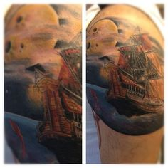 Ship and a moon tattoo