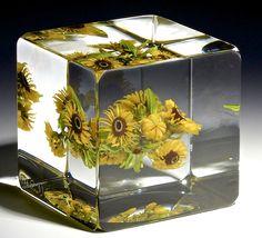 "Paul Stankard paperweight - Wild Sunflowers, 1998, 2 3/8"" x 2 3/8""t, 20.2 oz. - #0762"