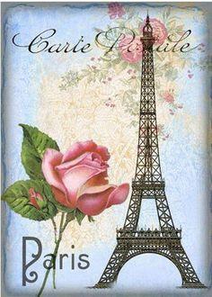 Post Card Paris Tour Eiffel Roses. Postal Paris Torre Eiffel y rosa.
