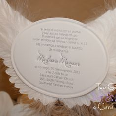 These Angel or Stork Wing invitations have a layer of heavenly soft feathers between two layers of heavy white linen card stock These are perfect for any religious event such
