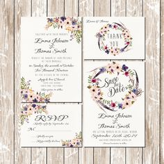 Boho Wedding Invitations kit Pink and Blue Floral bohemian watercolor Set/Suite Save the date RSVP Thank You Cards Printable digital files