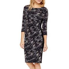 Black Label by Evan-Picone 3/4-Sleeve Side-Ruched Dress  found at @JCPenney