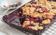 Pull together this simple fruit crisp with your favorite summer berries and a couple of pantry staples. This recipe is a fun way to feature stone fruits, too. We love using a combination of nectarines and cherries.