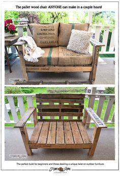 The pallet wood chair ANYONE can make in a couple hours. This chair could be interesting in a garden for seating or to hold planters