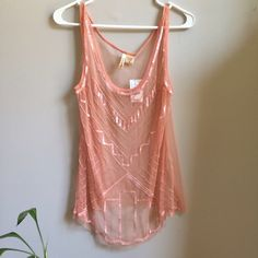 NWT Blush Sheer Mesh Beaded Tank Top Medium Absolutely beautiful! Retail $35.99. Also have in black size large. Tops Tank Tops
