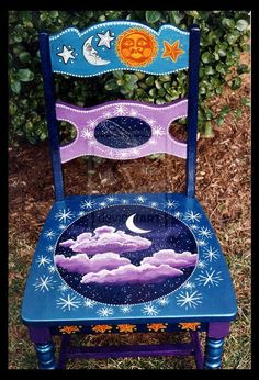 furniture chair Art Projects To Try To Develop And Perfect The Skill: Art On Furniture - Bored Art Hand Painted Chairs, Whimsical Painted Furniture, Hand Painted Furniture, Funky Furniture, Paint Furniture, Repurposed Furniture, Furniture Makeover, Furniture Stores, Furniture Outlet