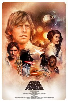 Tribute poster artwork to the original Star Wars trilogy - A New Hope, The Empire Strikes Back and Return of The Jedi.