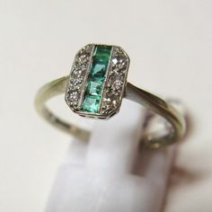 Vintage 1930s Art Deco 18ct Gold and Platinum Emerald and Diamond Ring