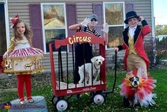 This is our family circus. We have a Carousel, ringmaster, and mime. The carousel costume was hand made from dollar tree items. Circus Family Costume, Circus Halloween Costumes, Circus Costume, Halloween Costume Contest, Family Costumes, Costume Ideas, Holidays Halloween, Halloween Diy, Costume Works
