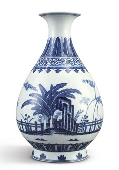 A FINE MING-STYLE BLUE AND WHITE VASE (YUHUCHUN PING)  TONGZHI MARK AND PERIOD