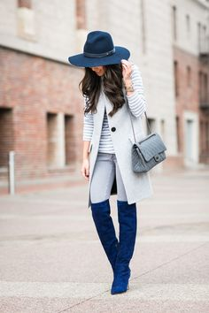 Women's Grey Sleeveless Coat, Grey Horizontal Striped Crew-neck Sweater, Grey Skinny Jeans, Blue Suede Over The Knee Boots Outfits With Hats, Mode Outfits, Casual Outfits, Fashion Outfits, Womens Fashion, Mode Chic, Mode Style, Fall Winter Outfits, Autumn Winter Fashion