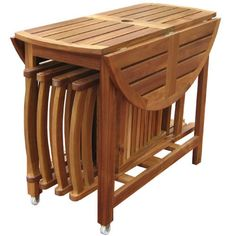This set includes a folding table and 4 comfortable folding chairs. The sides of the table fold down, and the four folding chairs easily stow underneath the table, for simple storage when the set is n