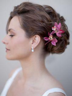 HCTB-052303  Exotic Tropical Hair Flower in Pink or Orange (Bride is wearing 2 flowers)