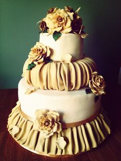 Champagne and Roses wedding cake ~ all edible