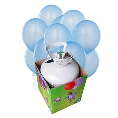 "Una bombona de helio desechble + 30 globos de color azul claro, para crear decorados ""cielo"" para una fiesta aviones - de www.fiestafacil.com, $56.95 / A disposable helium tank and 30 light blue latex balloons, to create ""sky"" decorations for your airplane party - from www.fiestafacil.com"