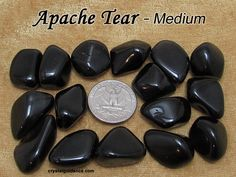 Apache Tear (medium) tumbled stone for crystal healing (Obsidian Apache Tears) Apache Tears, Obsidian Stone, The One Show, Tumbled Stones, Book Of Shadows, Crystal Healing, Crystals, Medium, Etsy
