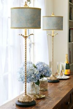 Gold trim lamps are so elegant.