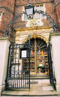 The gate of Abbot's Hospital, Guildford, England.