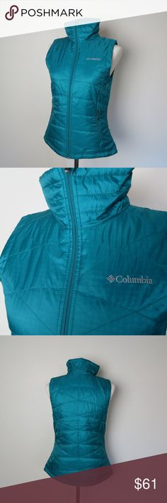 Columbia Women's Mighty Lite 3 Vest Small Shell: 100% polyester Windowpane Triple ripstop. Lining: 100% polyester reflective print microtex lite. Insulation: 50% polyester/50% recycled polyester Interior Security Pocket Omni-Heat Thermal Reflective and Insulated, 80g Water Resistant Fabric Zip-Closed Pockets Columbia Jackets & Coats Vests