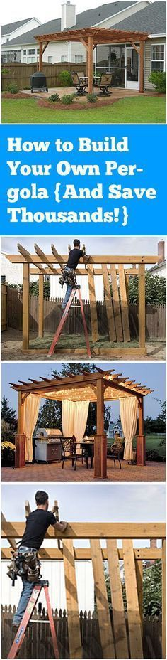 Awesome How to Build Your Own Pergola And Save Thousands! The post How to Buil… Awesome How to Build Your Own Pergola And Save Thousands! The post How to Build Your Own Pergola And Save Thousands!… appeared first on Pirti Decor . Backyard Projects, Outdoor Projects, Backyard Patio, Backyard Landscaping, Landscaping Ideas, Pallet Projects, Outside Living, Outdoor Living, Gazebos