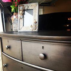 Dresser painted with Smoke Metallic Paint by Modern Masters Metallic Painted Furniture, Chalk Paint Furniture, Metal Furniture, Diy Furniture, Distressed Furniture, Paint Stain, Paint Finishes, Paint Walls, Small Bathroom Vanities