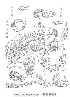 Sea bottom coloring book page black and wight. sea inhabitants and seaweed. Doodle style, hand draw sketch.