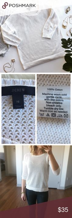 "🎀HP🎀 - J.CREW - 100% Cotton Waffle Knit Sweater Winter white 100% cotton sweater is perfect for fall & winter layering.  Wear with leggings and booties for a casual fall walk or dress up with dark wash skinny jeans and statement jewelry. 3/4 length sleeve, waffle knit body and arms with solid knit accents at shoulders and down sides. Excellent pre-loved condition, no flaws. Approx. Measurements  Length: 23"" Bust: 19"" 🛍Bundle & Save 20% on 2+ items! 🙅🏼No trades / selling off of Posh…"