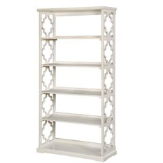 Features:  -Frame construction: Wood and veneers.  -Contemporary style.  -Open back design.  -6 Tier shelves.  -Quatrefoil side panels.  -Low raised guard rails.  Product Type: -Accent shelves.  Style