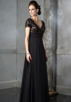 Empire V-neck Floor-Length Mother of Bride Dress (3E0144)